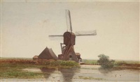 a polderlandscape with a windmill by paul joseph constantin gabriël