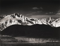 winter sunrise, sierra nevada from lone pine by ansel adams