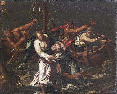 christ walking on the waves of lake tiberiade by paolo farinati