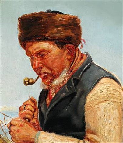 fisherman niels gaihede repairing a fishing net skagen by michael peter ancher