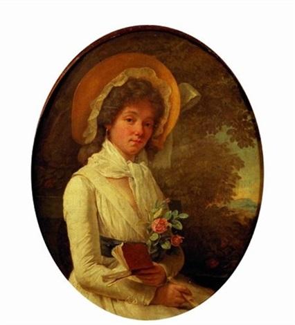 portrait de jeune femme en robe blanche sur fond de paysage by marie victoire lemoine
