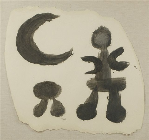 man moon and tree by joan miró