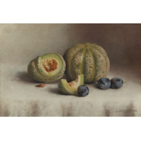 still life with plums and melons by joseph decker
