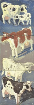 cows with spring calf (in 3 parts) by lucy culliton