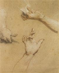 trois études de mains et d'avant bras by françois (le moine) le moyne