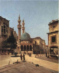 a street scene before a mosque by louis frey