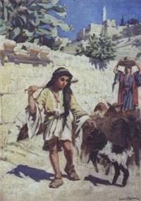 bergers aux abords de la citadelle à jérusalem by ludovic alleaume