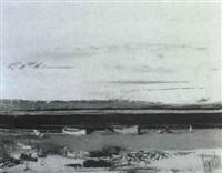 atardecer en un paisaje con rio y barcas by salvador rodriguez bronchu