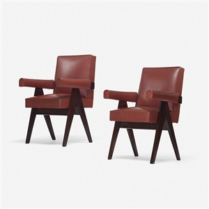pair of committe armchairs from the assembly chandigarh pair by pierre jeanneret