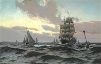 off hornbæk. evening atmosphere at sea by carl ludvig thilson locher