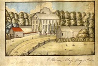 scene with farmhouse and outbuildings set in a grove of trees by celestine algieux