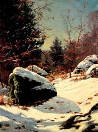 forêt enneigée by paul françois louchet