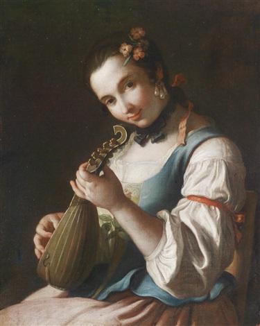 bildnis einer dame beim lautenspiel by pietro antonio rotari