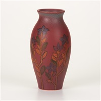vellum vase with floral decoration by margaret h. mcdonald