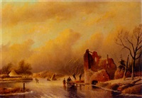 a winter landscape with skaters on a frozen waterway by a fortified mansion by j.c. corver