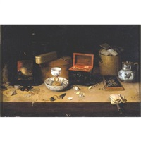 a still life of precious objects including jewelry, shells, blue and white porcelains, coins and other items, all on a table by c semmens