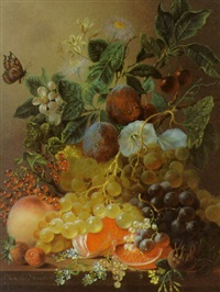 plums, grapes, an orange and other fruit and flowers on a ledge by jan van der waarden