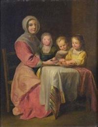 mère attablée avec des enfants by le nain brothers