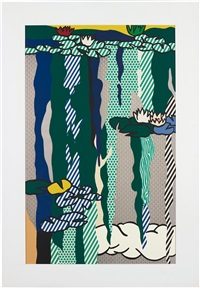 water lilies with cloud (from water lilies series) by roy lichtenstein