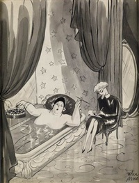 society matron in bathtub by peter arno