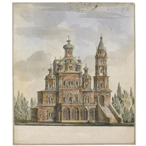 project for the church of the dormition on the pokrovka, moscow by giacomo quarenghi