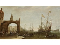 a capriccio of a mediterranean harbour, with ships anchored and figures on the quayside by bonaventura peeters the elder