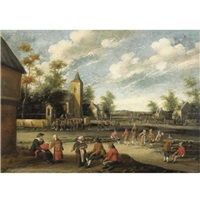 figures conversing in a village by cornelis droochsloot