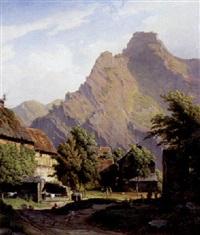 alpelandskab med bjergtinder og landsbyliv by frederic hillemacher