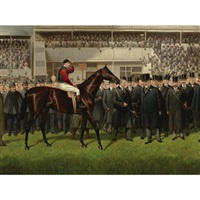 h.m. king edward vii's minoru with herbert jones up in the winner's circle at epsom, 26 may 1909 by alfred charles havell