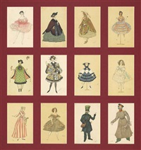 a series of twelve postcards published by the st evgenii society depicting costume designs from 'la fée des poupées' by leon bakst