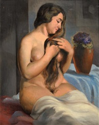 femme nue assise by gustave astoy