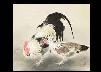 two chickens by sokyu yamamoto
