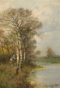 a river landscape in autumn (+ a river landscape in winter; 2 works) by johann jungblut