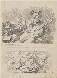 homère aveugle (after pier franceso mola) et mascaron décoratif by jean honoré fragonard