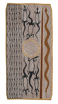 gulaidji (waterlily), waterhole, goannas and file snake by terry (maningrida) ngamandarra