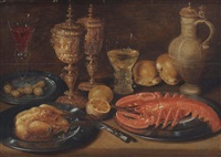a roasted chicken, lobster, olives, lemons, bread, goblets and a caraffe, all on a wooden ledge by clara peeters