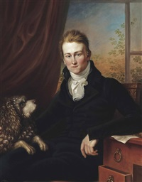 a portrait of a young gentleman, three-quarter-length, in a black suit and white cravat, with a poodle by his side, seated in an interior by british school (19)