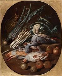 composition aux perdrix rouges et perdreaux gris, fruits et légumes by jacob van der kerckhoven