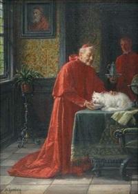 cardinal donnant une coupe de lait à son chat, munchen (+ ange déchu, verso) by adolf humborg