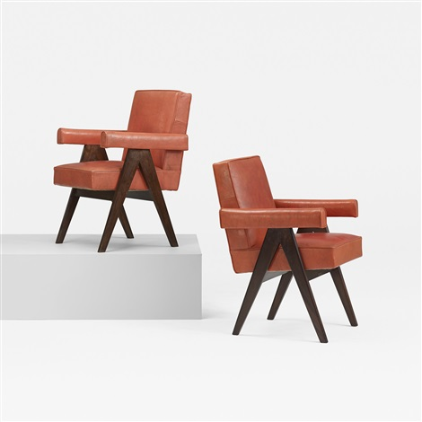 pair of committe armchairs from the assembly chandigarh by pierre jeanneret