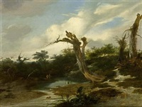 a wooded landscape with anglers near a stream and tree trunks in the foreground by gerrit van hees