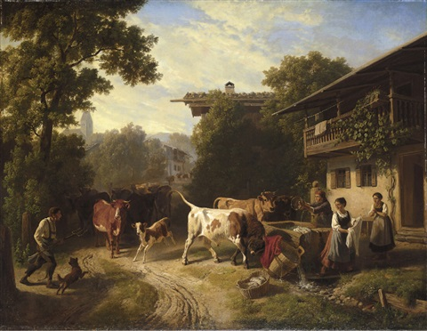 Heimkehrende Herde by Robert Eberle on artnet | {Herde 32}