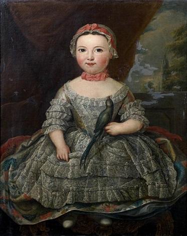 portrait denfant tenant un perruche by louis tocqué