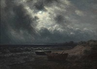 beach scene in moonlight by wilhelm ferdinand xylander