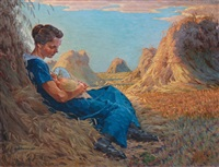mother with her suckling baby in a cornfield by walter voltmer