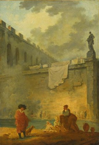 figures at the waterside by hubert robert