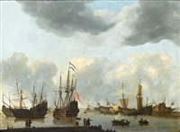 dutch shipping in calm sees under a stormy sky by reinier nooms