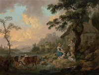 a river landscape with cattle watering and a family by their cottage by peter la cave