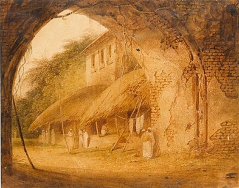 an indian street scene by charles sir doyly