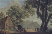 a wooded landscape with travellers with their wagon resting near a tavern by pieter jan van liender